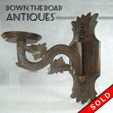 Carved Walnut Wall-Mounted Oil Lamp Holder DTR Antiques