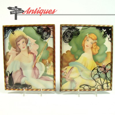 Pair of Art Deco lithographs of women in a garden with reverse-painted convex glass frames