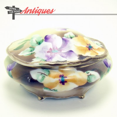 Hand-painted Nippon porcelain dresser dish with floral pattern