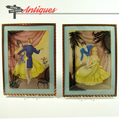Pair of Art Deco lithographs of dancing couple in reverse-painted convex glass frames