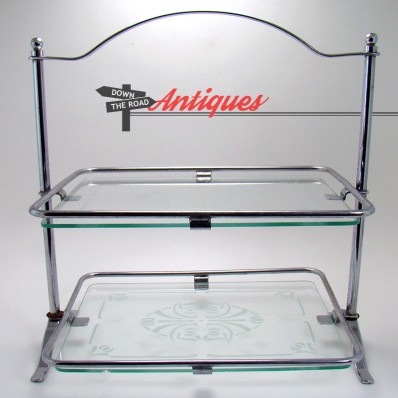 Two-tier dresser vanity tray with etched glass inserts and chrome stand, 1950's