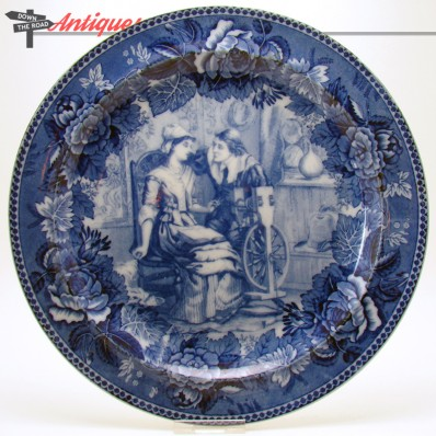 Blue Wedgwood ceramic plate with John and Priscilla Alden and poem expert by Longfellow on back