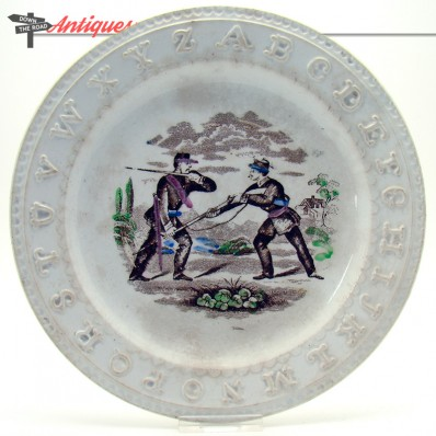 Staffordshire ceramic ABC plate with depiction of Civil War soldiers