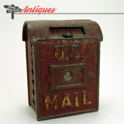 U.S. mail cast iron still bank with opening mail slot