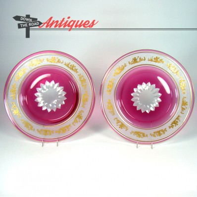 Pair of St. Louis carved and cut cranberry glass plates, c.1870