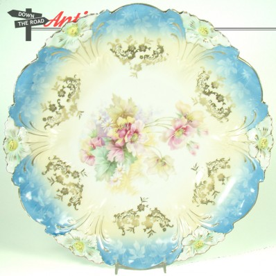 Large R. S. Prussia porcelain cake plate with floral design