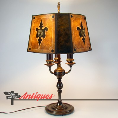 Signed Rembrandt Arts Crafts Electric Table Lamp With Mica Shade