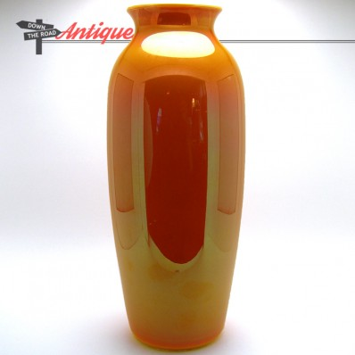 Large orange Imperial art glass vase with mirror-like glossy finish