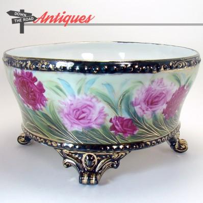 Signed hand-painted Nippon porcelain ferner with floral design