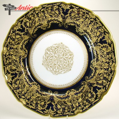 Artist-signed Royal Dalton hand-painted porcelain plate with gold enameling