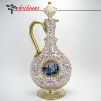 Hand-blown Venetian glass ewer with stopper and very fancy gold enameling