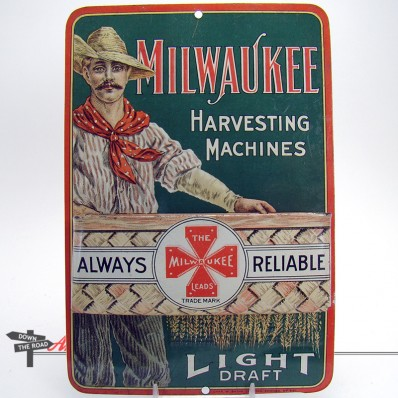 Very rare lithographed tin Milwaukee Harvesting Machines advertising match-strike