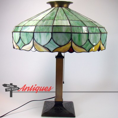 Large Art Nouveau leaded electric table lamp with green panel glass shade, c. 1910