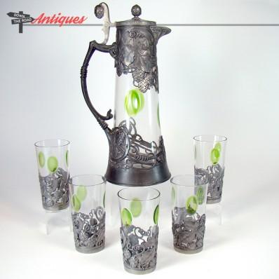 Fancy Art Nouveau cut glass lemonade set with pitcher and five glasses