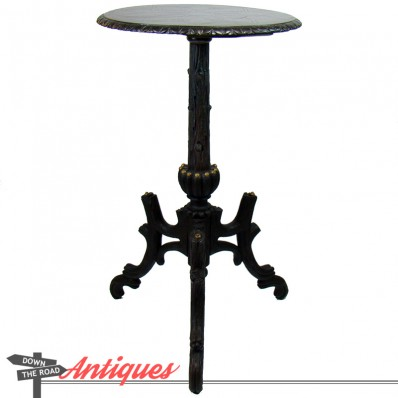 Tall carved wood folk art table or stand in the form of a tree