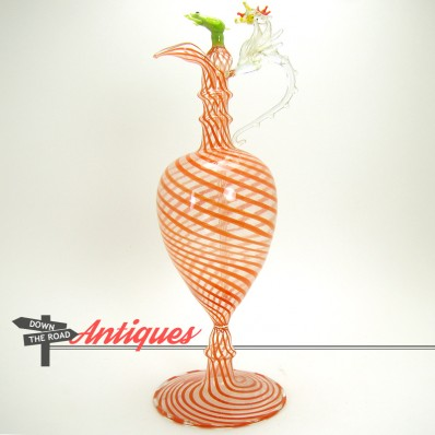 Very delicate Venetian glass perfume bottle with dauber and hand-blown dragon and frog figures