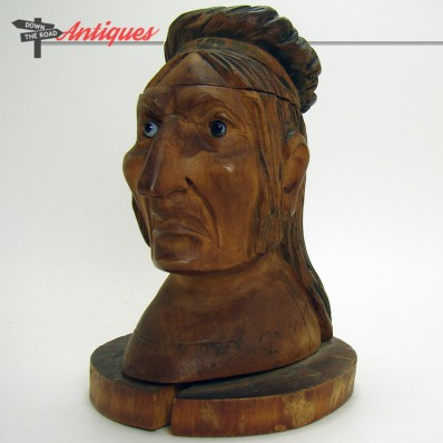 Hand-carved wood inkwell depicting a Native American with glass eyes