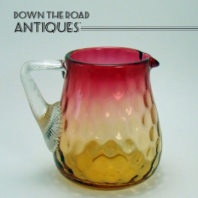 amberina glass pitcher handle thumbprint applied inverted 1890