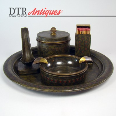 Five-piece Bradley & Hubbard smoking set with tray, pipe holder, match holder and ashtray