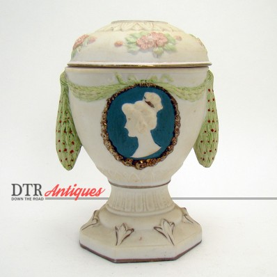 Schafer and Vater bisque porcelain hair receiver with lady's cameo and multiple colors