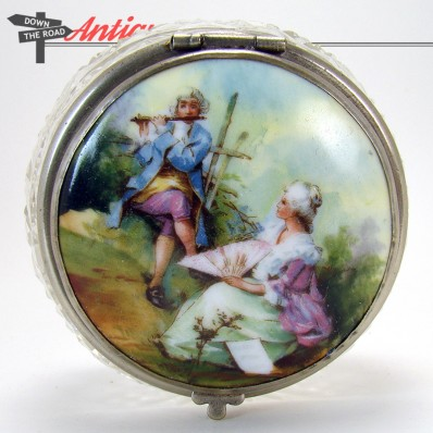 Cut glass powder jar with hand-painted porcelain insert and star bottom