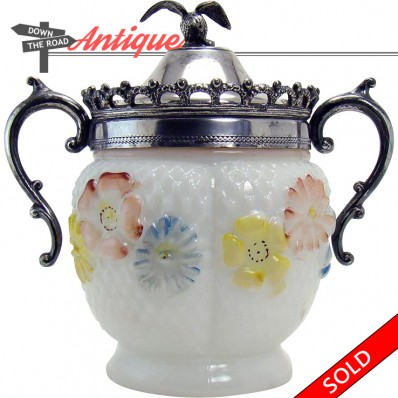 Consolidated Glass Co. condiment container with cosmos pattern and lid with eagle finial