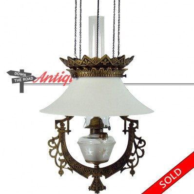 Bradley and Hubbard pull-down library lamp with height adjustment and white glass shade