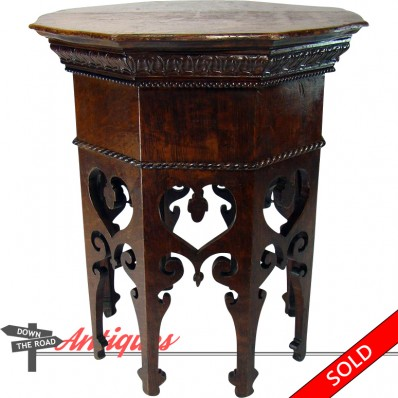 Victorian solid oak stand with hand-carved beaded and rope features