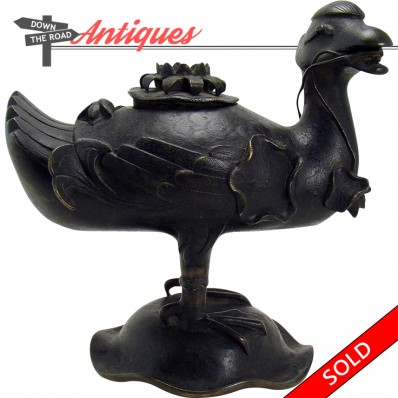Ming Dynasty Chinese bronze incense censor in shape of Mandarin duck