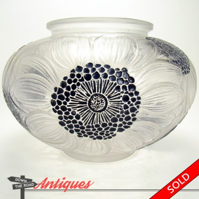 R. Lalique frosted enameled glass vase with hand-pained dahlias, c. 1920