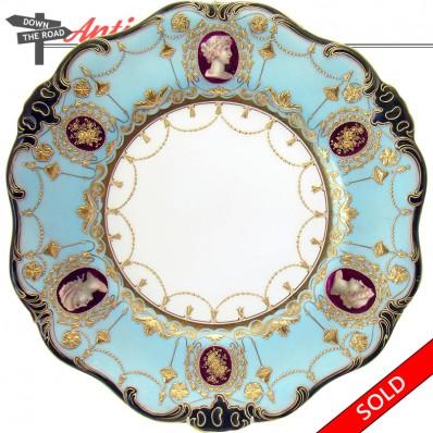 Artist-signed hand-painted Royal Dalton Burslem porcelain plate with heads