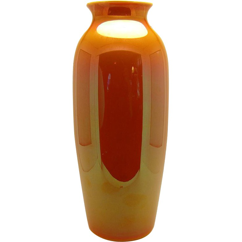 Large Orange Imperial Glass Vase Dtr Antiques