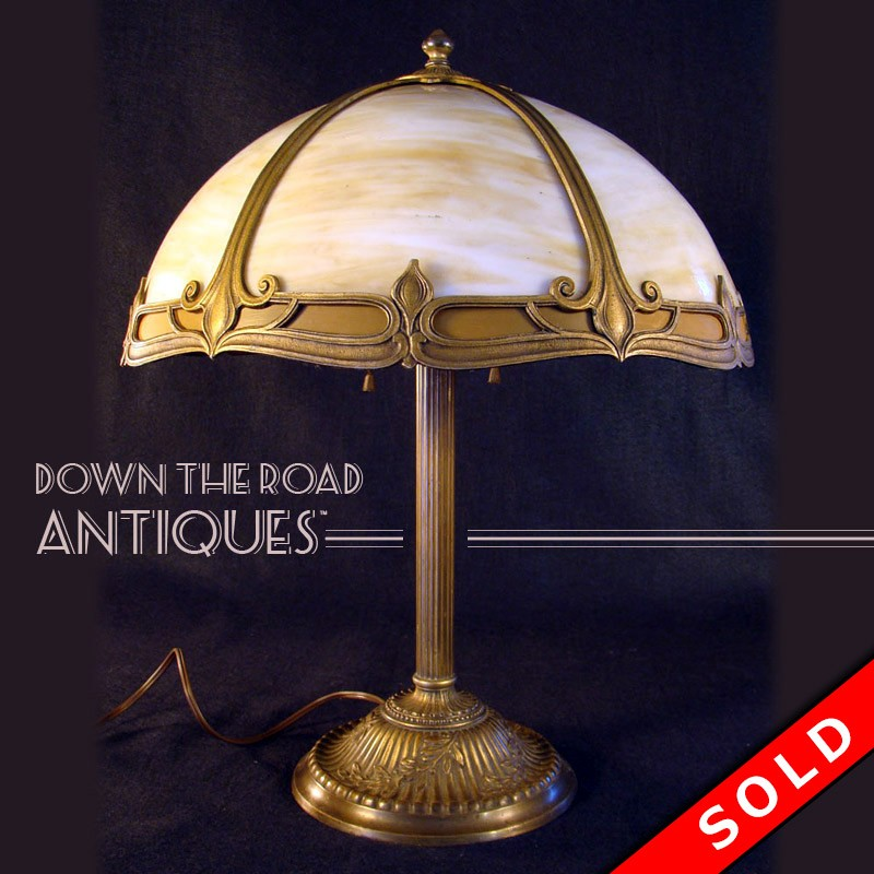 Rainaud Slag Glass Table Lamp Dtr Antiques