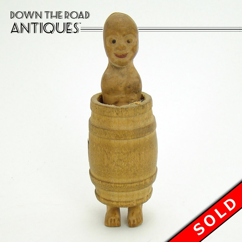 Nude Man In Wood Barrel Risque Novelty Toy DTR Antiques Impressive Wooden Baseball Game Toy
