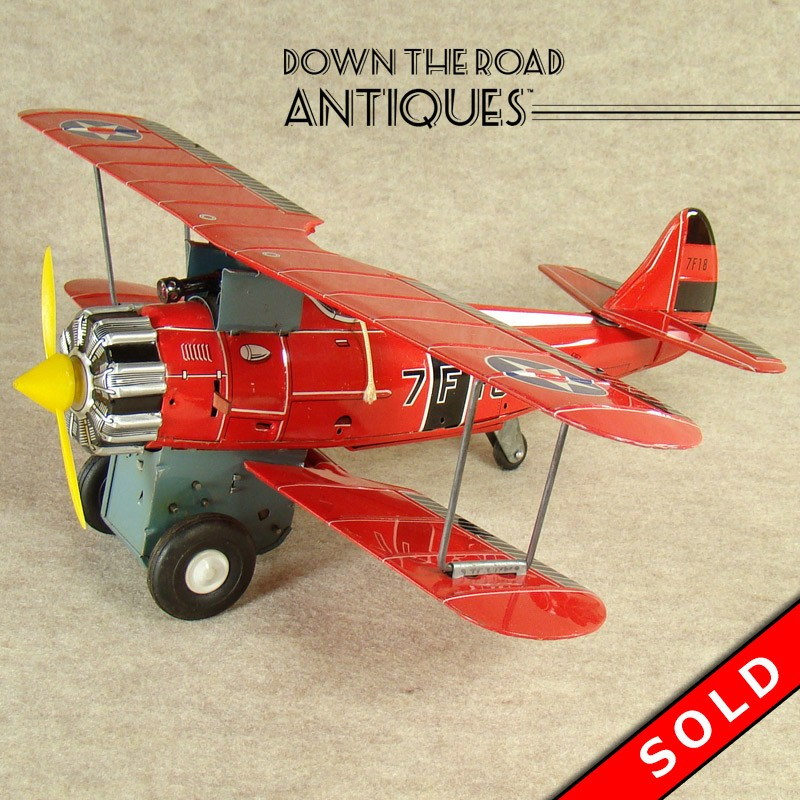 Red Baron Bi-plane Battery Operated Toy   DTR Antiques  Red Baron Biplane