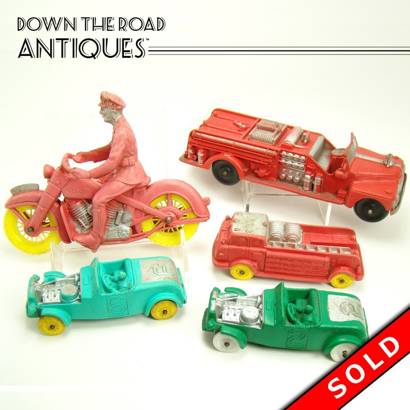 Auburn Rubber Police Motorcycle Race Cars And Fire Engines Toy