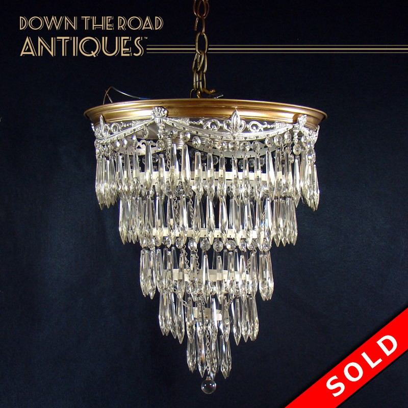 Hanging wedding cake chandelier with prisms dtr antiques hanging wedding cake chandelier with prisms mozeypictures Image collections
