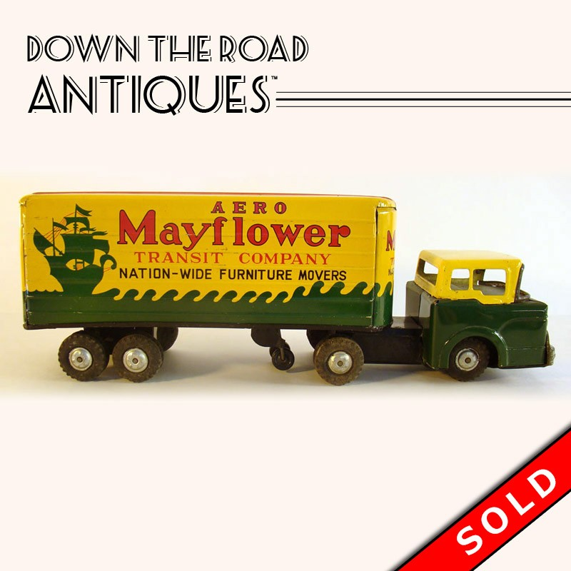Yellow Marx Mayflower Moving Truck Friction Toy, Made In Japan