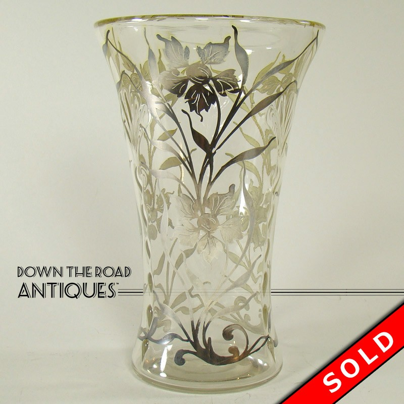 Molded Clear Glass Vase With Silver Overlay Dtr Antiques