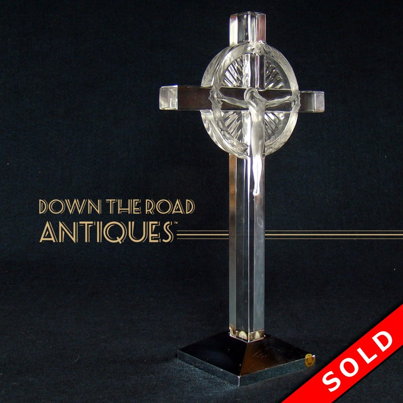Aluminum Brass Working France: Lalique Glass Crucifix With Metal Base