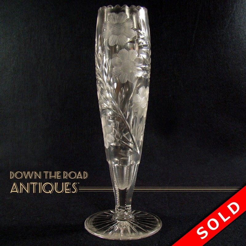 Large Cut Glass Vase American Brilliant Cut Period Dtr Antiques