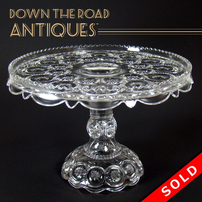Pressed Glass Pedestal Cake Stand