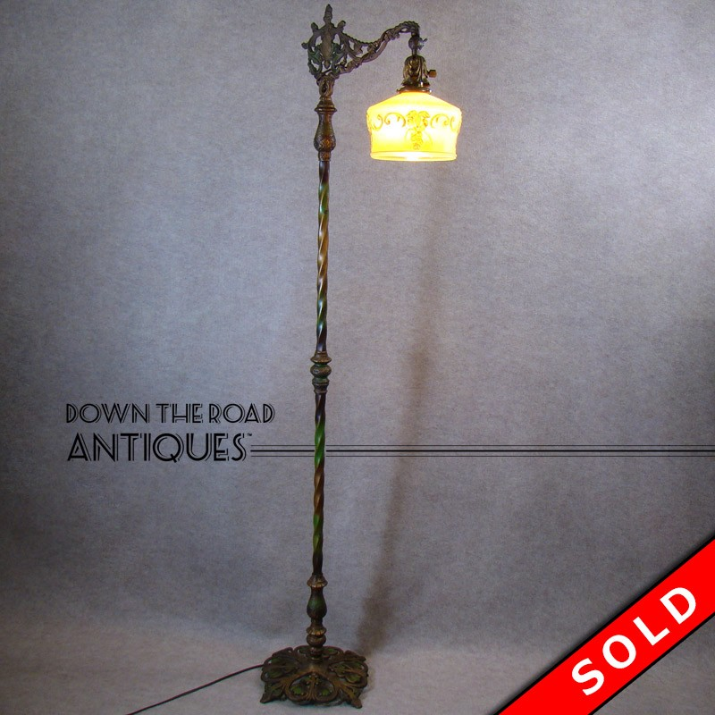 Ornate floor lamp with original enameled paint dtr antiques for Ornate silver floor lamp