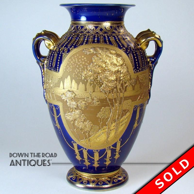Enameled Nippon Porcelain Vase Cobalt Blue With Heavy Raised Gold