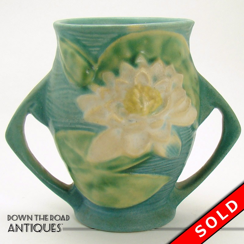 Roseville Pottery Vase With Lily Pads Dtr Antiques