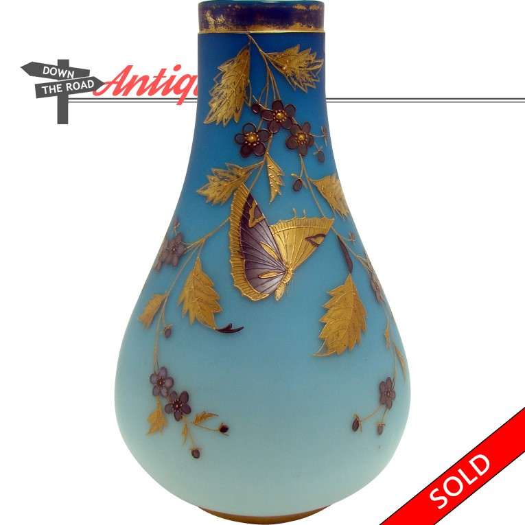 Webb Blue Satin Glass Vase With Butterflies And Floral Decorations