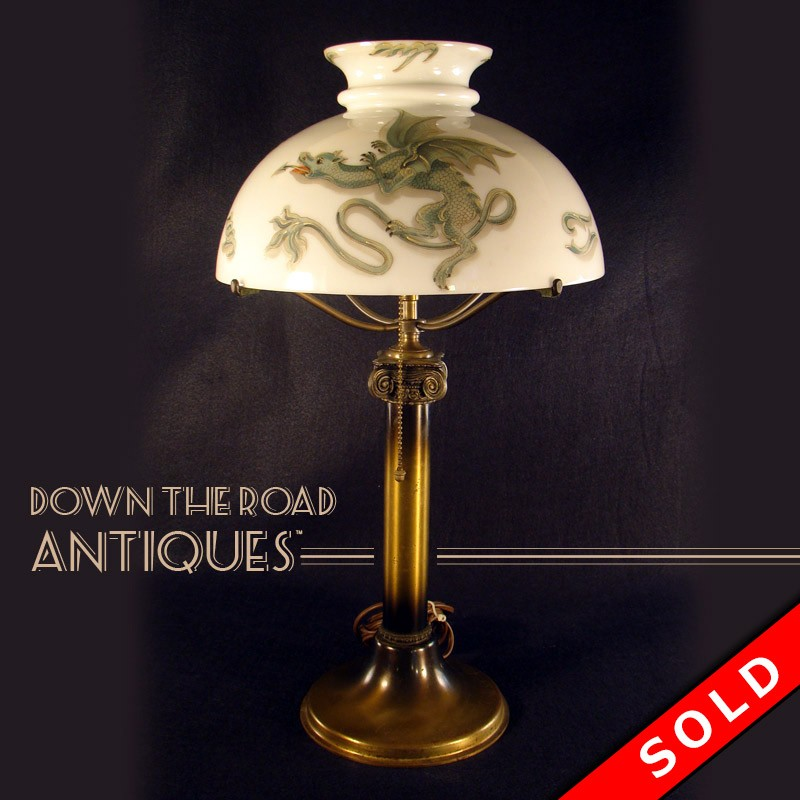 Handel dragon lamp with opal shade dtr antiques handel dragon table lamp with opal shade aloadofball Choice Image