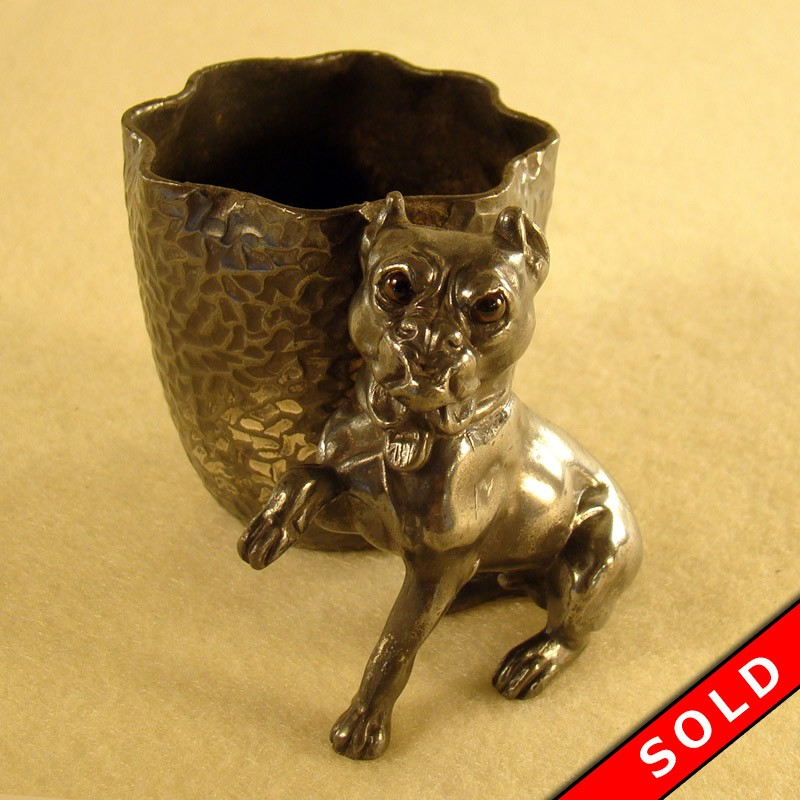 Silver Plated French Bulldog Toothpick Holder with Glass Eyes & Silver Plated French Bulldog Toothpick Holder | DTR Antiques