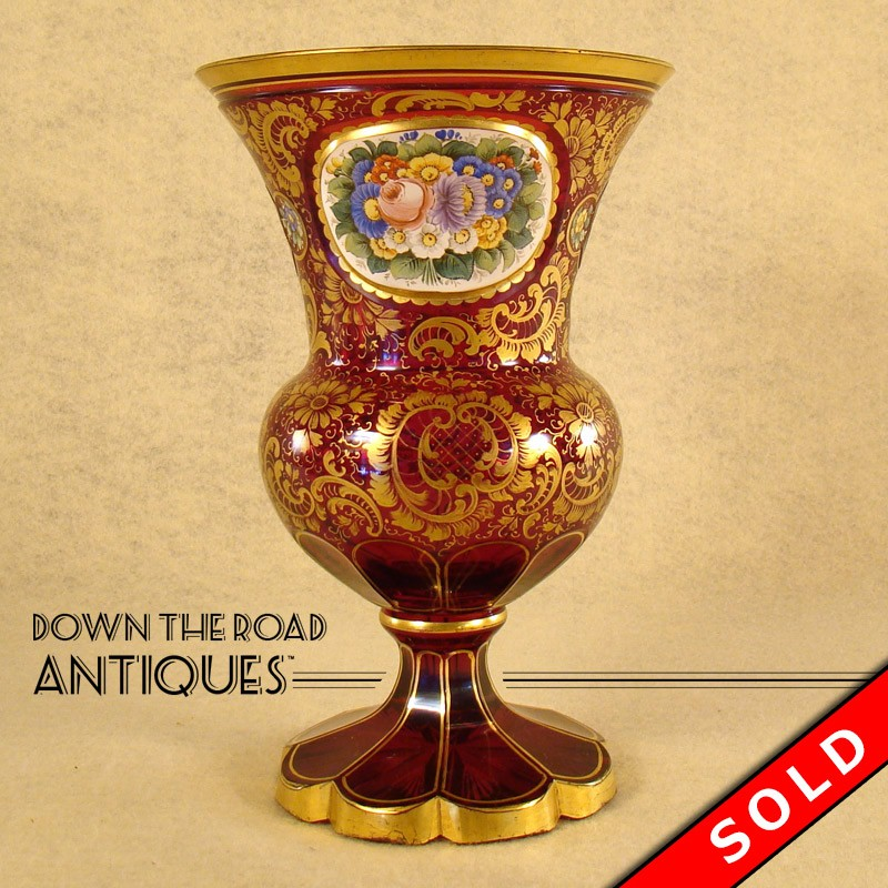 Bohemian Ruby Red Enameled Glass Vase Dtr Antiques