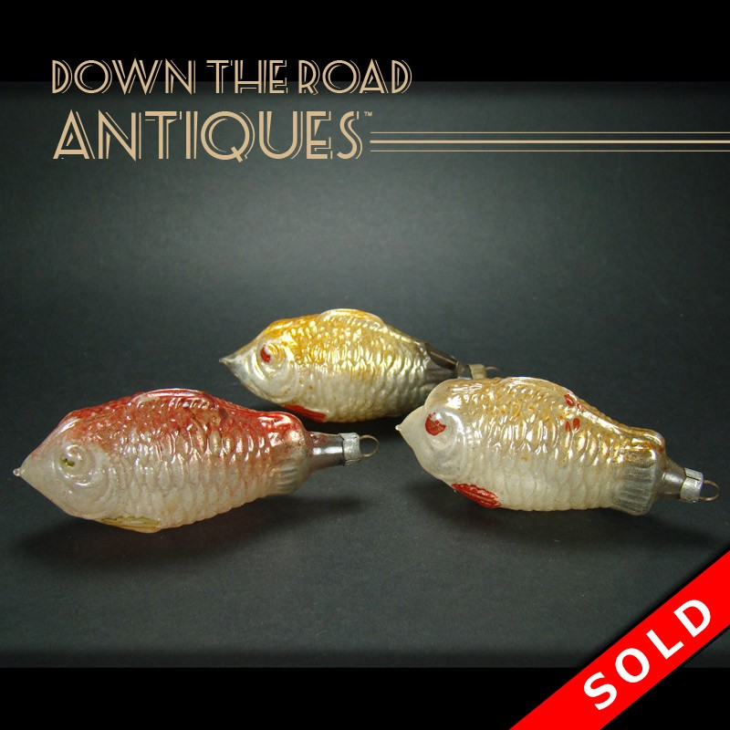 Hand blown glass fish christmas ornaments dtr antiques for Blown glass fish